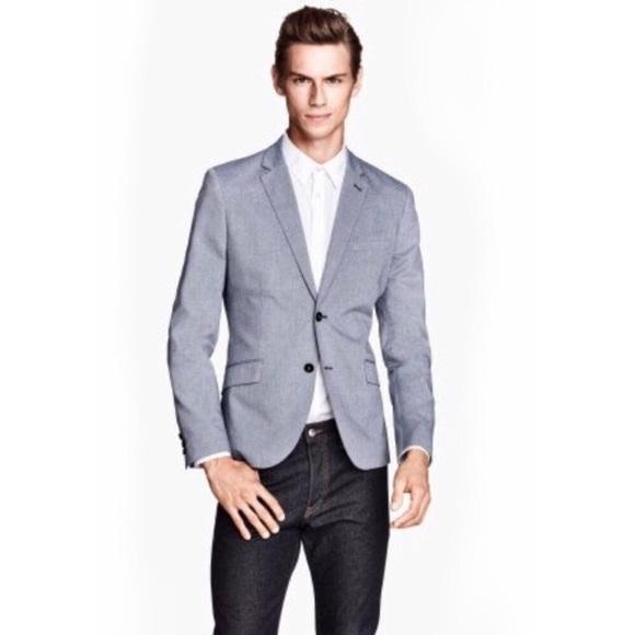 5c93e91ea1022 H&M preppy light blue gray blazer 42R EUC